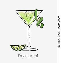 couper, apéritif, basé, cocktail, vert, martini, sec, vodka., chaux pèle, alcoolique, cocktail.