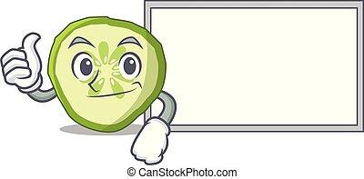 couper, caractère, haut, concombre, planche, frais, dessin animé, pouces