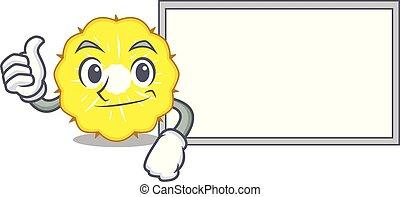couper, caractère, haut, planche, ananas, dessin animé, pouces