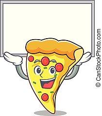couper, caractère, haut, planche, dessin animé, pizza
