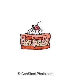 couper, chocolat, crème fouettée, gâteau cerise, coiffe