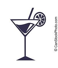 couper, cocktail, paille, vecteur, orange, martini