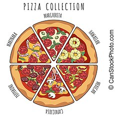 couper, collection, pizza