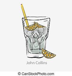 couper, cubes, alcool, tout, cocktail, blanc, collins., glace, chaux, paille, jour, john, based.