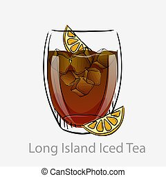 couper, cubes, basé, alcool, tout, cocktail, longue île, vodka., glace, orange, chaux, jour, tea., sombre