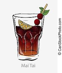 couper, cubes, cocktail, orange, menthe, glace, tube, chaux, leaf., cocktail., tai, cerise, mai, sombre