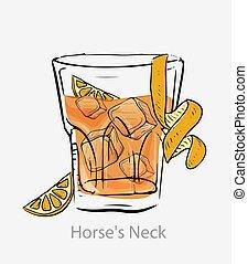 couper, cubes, spirale, zeste, cocktail, citron, brandy., glace, orange, cocktail., cou, cheval