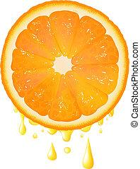 couper, jus, fond, orange, gouttes, transparent