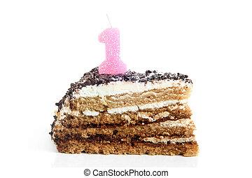 couper, nombre, chocolat, gâteau anniversaire, bougie, une