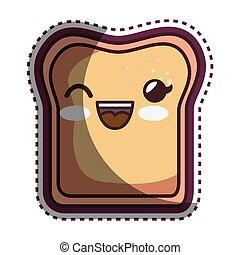 couper, nourriture, caractère, délicieux, dessin animé, pain