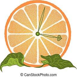 couper, orange, horloge