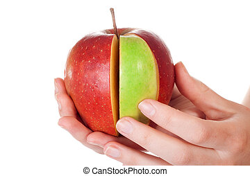 couper, pomme, combinaison, part, arrière-plan vert, blanc,...
