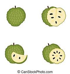 couper, pomme, entier, vecteur, fruit, sucre, illustration