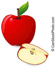 couper, pomme, rouges