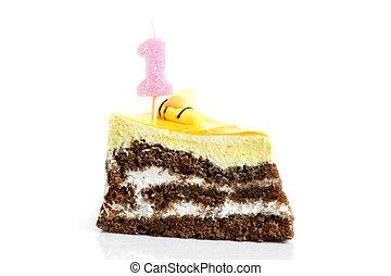 couper, premier, gâteau anniversaire, bougie, crème