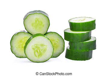 couper, sain, suhyo, légumes, isolé, japonaise, concombre, fond, frais, blanc, ou, courgette