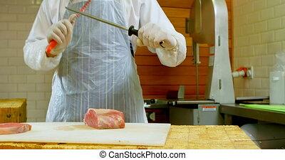 couper, sharping, viande, couteau, 4k, charcutier