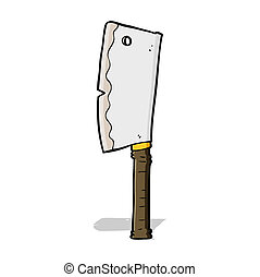 couperet, dessin animé, viande