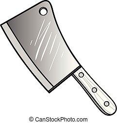couperet, viande, illustration