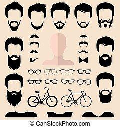 coupes, baard, anders, set, creator., groot, gezichten, bril, op, vector, hipster, mannen, constructor, jurkje, mannelijke , enz., pictogram