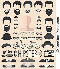 coupes, baard, anders, set, creator., jurkje, app, mannen, bril, op, constructor, vector, hipster, gezichten, man, enz., pictogram