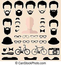 coupes cheveux, barbe, différent, ensemble, creator., grand, faces, lunettes, haut, vecteur, hipster, hommes, constructeur, robe, mâle, etc., icône