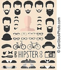 coupes cheveux, barbe, différent, ensemble, creator., robe, app, hommes, lunettes, haut, constructeur, vecteur, hipster, faces, homme, etc., icône