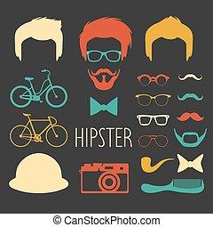 coupes cheveux, différent, ensemble, creator., grand, types caractère haut, lunettes, vecteur, hipster, hommes, constructeur, robe, mâle, etc., icône