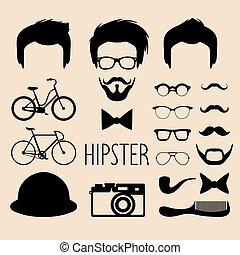 coupes cheveux, plat, différent, ensemble, creator., grand, faces, lunettes, haut, vecteur, hipster, hommes, constructeur, robe, barbe, etc., icône