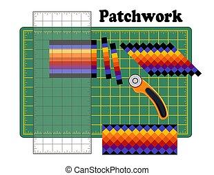 coupeur, patchwork, modèle, bricolage, lame, rotatif, règle, traditionnel, découpage, conception, seminole, bande, quilters, natte, morceau