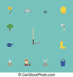 coupeur, plat, ensemble, jardinage, elements., latex, icônes, inclut, caoutchouc, aussi, vecteur, herbe, symboles, objects., sécateur, autre, cultivateur