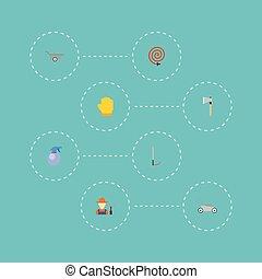 coupeur, plat, tuyau, jardin, latex, icônes, outillage, objects., vecteur, inclut, symboles, aussi, ensemble, herbe, elements., agriculture, autre, latex