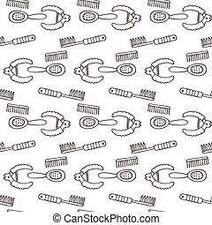 coupeur, salon, peigne, équipement, ensemble, griffonnage, coupe, seamless, icons., groomer, coupe-ongles, modèle, plus lisse, collection, dematters, chien, brosse, doggy, outils, soins personnels