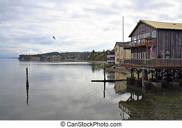 Coupeville Harbor - Coupeville stores on piers in Puget ...
