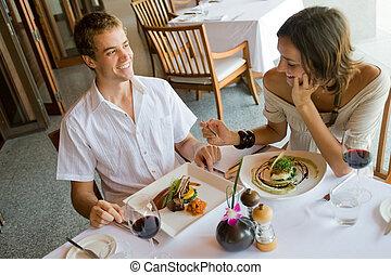 couple, à, dîner