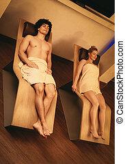 couple, à, les, spa