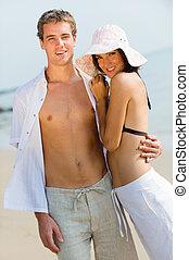 couple, à, plage