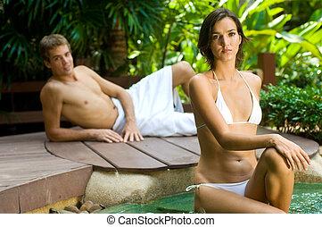 couple, à, spa