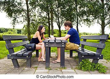 couple, à, table pique-nique