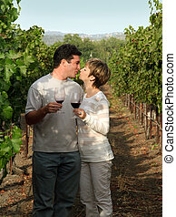 couple, à, vignoble