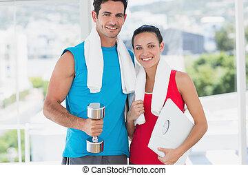 couple, échelle, crise, exercice, haltère, clair, salle