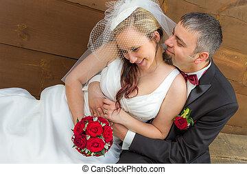 couple, étreinte, romantique, jeune