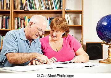 couple, étudier, bibliothèque, -