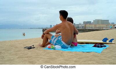 couple, 4k, plage, jeune, séance