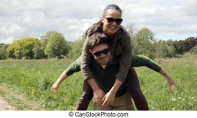 couple, 5, dehors, amusement, avoir, heureux