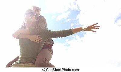 couple, 7, dehors, amusement, avoir, heureux