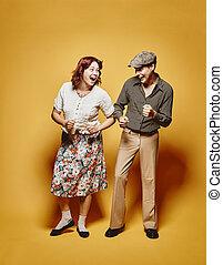 couple, 70, thème, regard