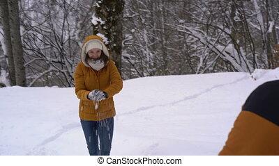 couple, a, combat snowball