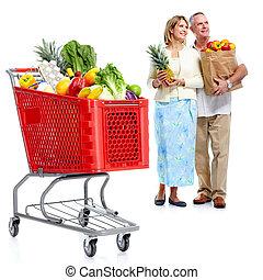 couple, achats, cart., heureux