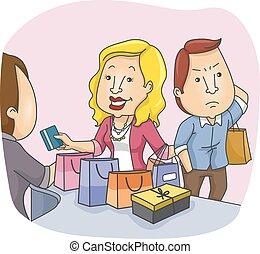 couple, achats, ennuyé, mari